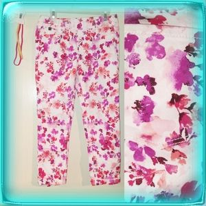 Jordache crop jegging pink purple floral girls L
